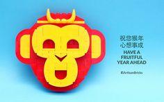 ~ Lego Mocs Holidays ~ Artisan Bricks by Jeffrey Kong - LEGO Year of the Monkey 2016 - Sun Wukong Journey to the West   by www.artisanbricks.com