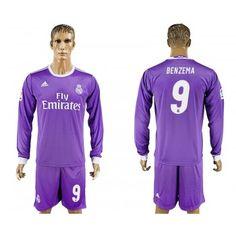Real Madrid 16-17 Karim Benzema 9 Bortatröja Långärmad  #Fotbollströjor