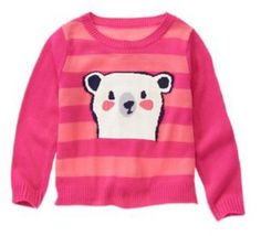 NEW NWT Gymboree SWEATER WEATHER Pink Polar Bear Stripe Sweater Girl S 5-6 #Gymboree #Pullover #Everyday