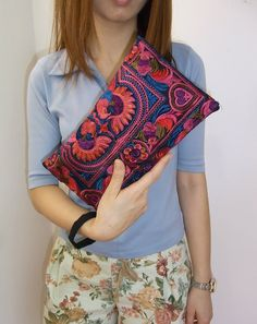 RED BIRD Wristlet Clutch HMONG Embroidered Bag Hippie Boho Handmade Thailand (810rb). $6,99, via Etsy.