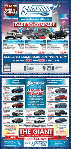 Here is Sherwood Ford's Sales ad for New and Pre-owned Vehicles
