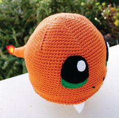 Charmander with Fire Flame Tail Inspired Hat: Pokemon -ish  Kawaii Handmade Crochet Japanese Pocket Monster Anime Beanie Hat