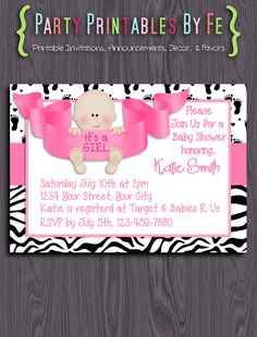 Printable Baby Shower Invitation ~ It's A Girl! Baby Shower ~ I91
