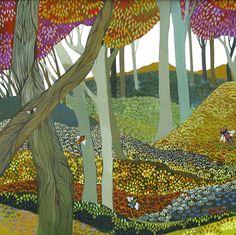 UK ~ Melissa Launay Landscape Quilts, Landscape Art, English Artists, Naive Art, Autumn Trees, Art Images, Colored Pencils, New Art, Folk Art
