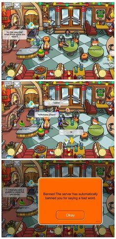 Pointing out the difference between a pizza and a milkshake: | The 24 Easiest Ways To Get Banned From Club Penguin