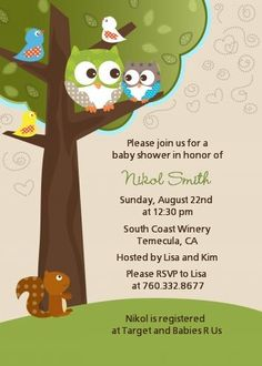 Owl - Look Whooo's Having A Baby - Baby Shower Invitations