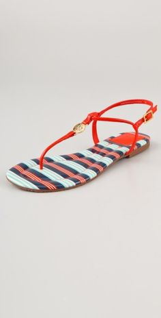 Tory Burch Multicolor Emmy Flat Thong Sandals. Love!