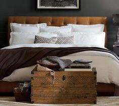 Lorraine Tufted Leather Headboard | Pottery Barn