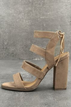 d6cee3dc182e6 Let the Sydney Beige Suede High Heel Sandals take you as far as you can go!  Soft vegan suede shapes a strappy