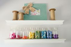 Cute idea for felt ball storage - use mason jars! www.craftaholicsanonymous.net