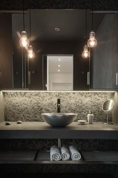 Bathroom interior dark Stone elegante