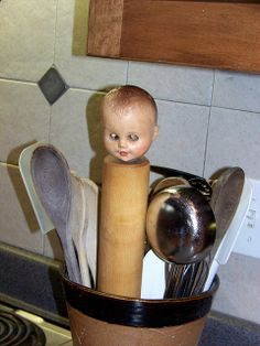Just keep your eyes open (get it?) and you're likely to see a creepy baby doll head just about anywhere in my house...
