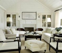 White and dark brown sitting room