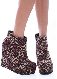 Leopard print wedge booties $62