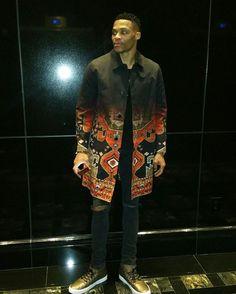 hot sale online 2639b 110c3 Russell Westbrook wearing Jordan Custom X Westbrook 0 Sneakers, Givenchy  Printed Coat