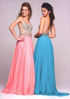 Prom Dresses Winter Ball Dresses <BR>582<BR>Long gown, sheer double V-neckline bodice embellished with stones and bead work