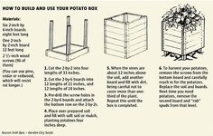 Grow potatoes in containers, potato bins, potato grow bags or a potato box. Ideas for building your own potato tower or grow bin Potato Gardening, Organic Gardening, Gardening Tips, Vegetable Gardening, Urban Gardening, Potato Box, Potato Barrel, Fresh Potato, Sweet Potato