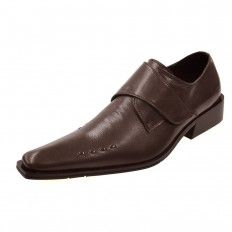 POINTED TOE SADDLE STRAP SHOES(BROWN)