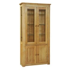 Contemporary Solid Oak QPDC 2 Door Glass Display  www.easyfurn.co.uk Solid Oak, Glass Door, Tall Cabinet Storage, Bookcase, Display, Contemporary, Range, Furniture, Home Decor
