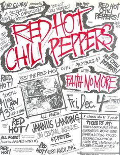 ☮~ღ~*~*✿⊱╮Hippie Style, Free Spirit, Boho, - レ o √ 乇 !! ✿⊱╮❥☮ - Red Hot Chili Peppers - Faith No More music concert poster