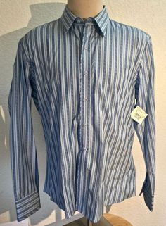 Men's 7 Diamonds Shirt Blue Stripes Long Sleeve   XL 100% Cotton NWT    GR0704 #7Diamonds #ButtonFront