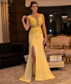 Appliques Yellow Mermaid Long Evening Dress with Slit, Formal Prom Dresses Backless Prom Dresses, Prom Dresses With Sleeves, Bridesmaid Dresses, Yellow Evening Dresses, Mermaid Evening Dresses, Cheap Formal Dresses, Slit Dress, Formal Prom, Dress For You
