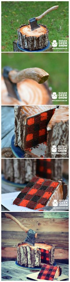 A lumberjack cake with an edible axe and a plaid pattern inside!