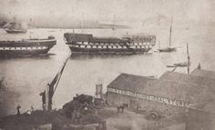 Prison Hulks moored at Woolwich late 1850s London