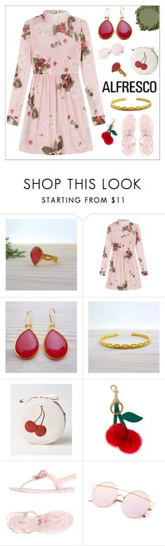 """""""Alfresco - Floral Dress - Evangelos Jewellery"""" by evanangel ❤ liked on Polyvore featuring RED Valentino and Anya Hindmarch"""