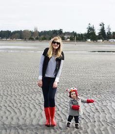 stripes, wooly vest, red rain boots, owl hat, love muffin