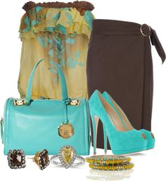 """""""Brown,Turquoise and Yellow"""" by lisamoran on Polyvore"""