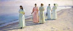 Ancher, Michael, (1849-1927), A stroll on the beach, 1896