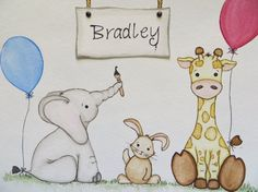 Watercolor painting children's painting nursery art by Waterblooms, $35.00
