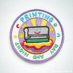 Printing Day and Night Patch is 8 x 8 cm Welcome to the printing club! It is super cool, colorful and perfect for someone who is crazy about printmaking.  When dispatched, the patch will be secured with cardboard.  Thanks for viewing! Back to my shop: http://www.etsy.com/shop/bel777