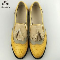 Genuine Leather Big Woman Vintage Flat Shoes Round Toe Handmade White  Creepers Oxford Shoes Fur 0dc2462eeb7