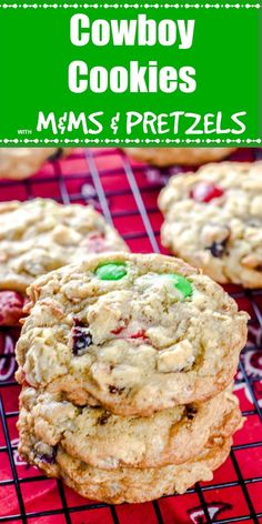 These sweet Cowboy Cookies with M&Ms and Pretzels are loaded with crunchy toasted coconut and pecans and sweet M&Ms and crushed pretzels. Pretzel Cookie Recipe, Cowboy Cookie Recipe, Pretzel Cookies, Pecan Cookies, Coconut Cookies, Candy Cookies, Yummy Cookies, Chocolate Cookies, Sugar Cookies From Scratch
