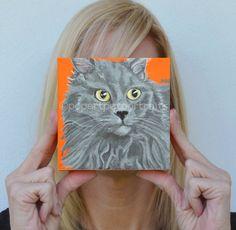 Pet Portrait custom Cat painting persian cat by PopArtPetPortraits, $75.00 https://www.etsy.com/listing/166492602/pet-portrait-custom-cat-painting-persian