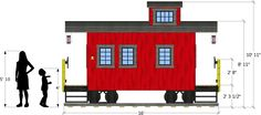 Red wooden caboose playhouse plan for kids