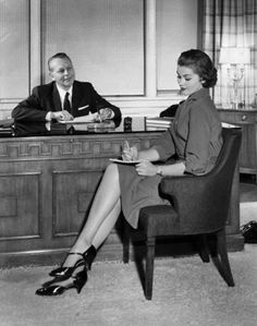 Lingerie Businessman dictating notes to his secretary in an office Canvas Art - x - Retro Office, Vintage Office, Office Set, Vintage Pictures, Vintage Images, Office Canvas Art, Lingerie Vintage, Office Pictures, Office Assistant