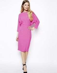 Image 1 ofASOS Pencil Dress In Crepe With Cut Out Back