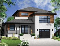 <!-- Generated by XStandard version 2.0.0.0 on 2012-06-15T15:54:10 --><ul><li>At only 34 feet wide, this striking modern contemporary home plan lives large. A wide covered porch greets guest and the enclosed vestibule opens to jaw-dropping staircase open to the second floor. </li><li>Off the entry is a flexible space ideal for an office, den or guest room. A beautiful galley-style kitchen includes an 8-foot long island which is open to both the dining room and the adjoining covered deck…