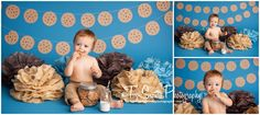 Milk and cookies photo session, cookie monster first birthday, cake smash session  Two Sisters Photography, Bonney Lake, WA