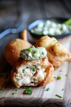 Blue Cheese Lobster Beignets With Spicy Avocado Cream (via http://www.brit.co)