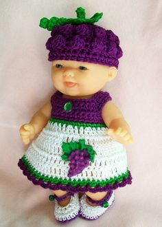 Crochet Berenguer itty bitty Lots to Love Reborn Doll Clothes Clothing - 5 inch Berenguer Grape Doll Dress Hat shoes booties panties