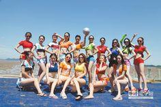 7月21日,中國旅遊文化小姐到秀山島,參加浙江舟山舉行的「滑泥季」活動。(CFP)