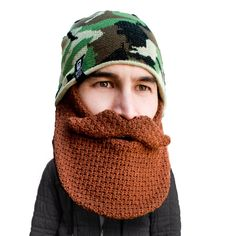 92bc76e0859 Skully Duke Beard Head knit camo beanie with beard! Makes a great gift!  Available at www.beardhead.com