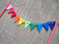 Rainbow Felt Cake Bunting on Chevron Paper Straws by AFeltAffair
