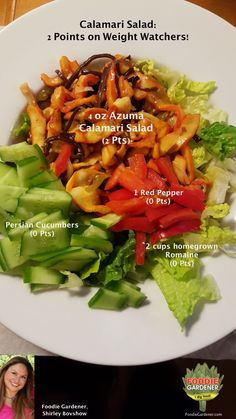 Calamari and Asian food lovers, I accept your thanks in advance for this Weight Watcher's friendly,  2 point salad recipe! I could barely contain myself when I read the nutrition information …