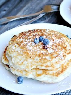 Blueberry pancakes made with greek yogurt in place of the buttermilk