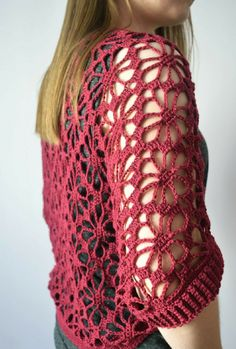 Crochet shrug free pattern knitting 23 New Ideas Gilet Crochet, Crochet Jacket, Crochet Cardigan, Crochet Shawl, Cardigan Pattern, Poncho Knitting Patterns, Crochet Patterns, Free Knitting, Knitting Sweaters
